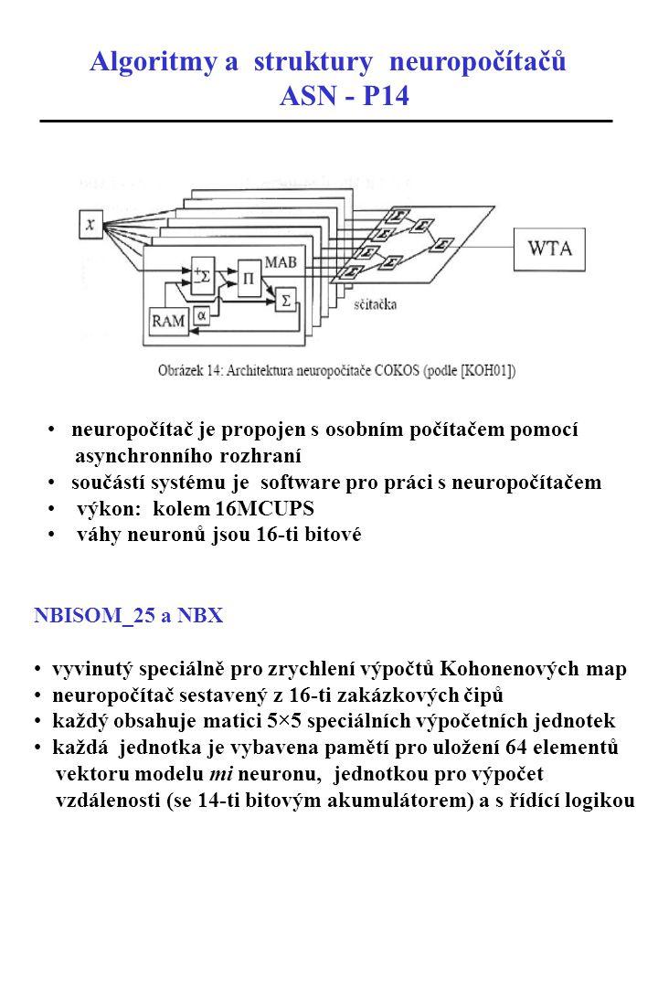 Algoritmy a struktury neuropočítačů ASN - P14 neuropočítač je propojen s osobním počítačem pomocí asynchronního rozhraní součástí systému je software