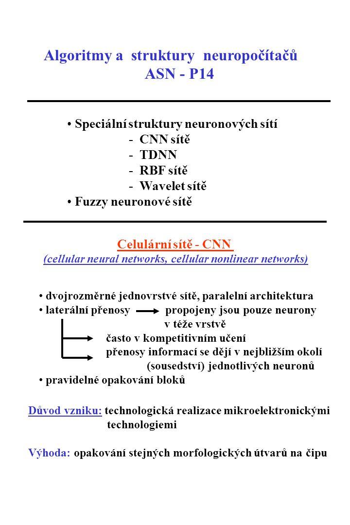 Algoritmy a struktury neuropočítačů ASN - P14 Speciální struktury neuronových sítí - CNN sítě - TDNN - RBF sítě - Wavelet sítě Fuzzy neuronové sítě Celulární sítě - CNN (cellular neural networks, cellular nonlinear networks) dvojrozměrné jednovrstvé sítě, paralelní architektura laterální přenosy propojeny jsou pouze neurony v téže vrstvě často v kompetitivním učení přenosy informací se dějí v nejbližším okolí (sousedství) jednotlivých neuronů pravidelné opakování bloků Důvod vzniku: technologická realizace mikroelektronickými technologiemi Výhoda: opakování stejných morfologických útvarů na čipu