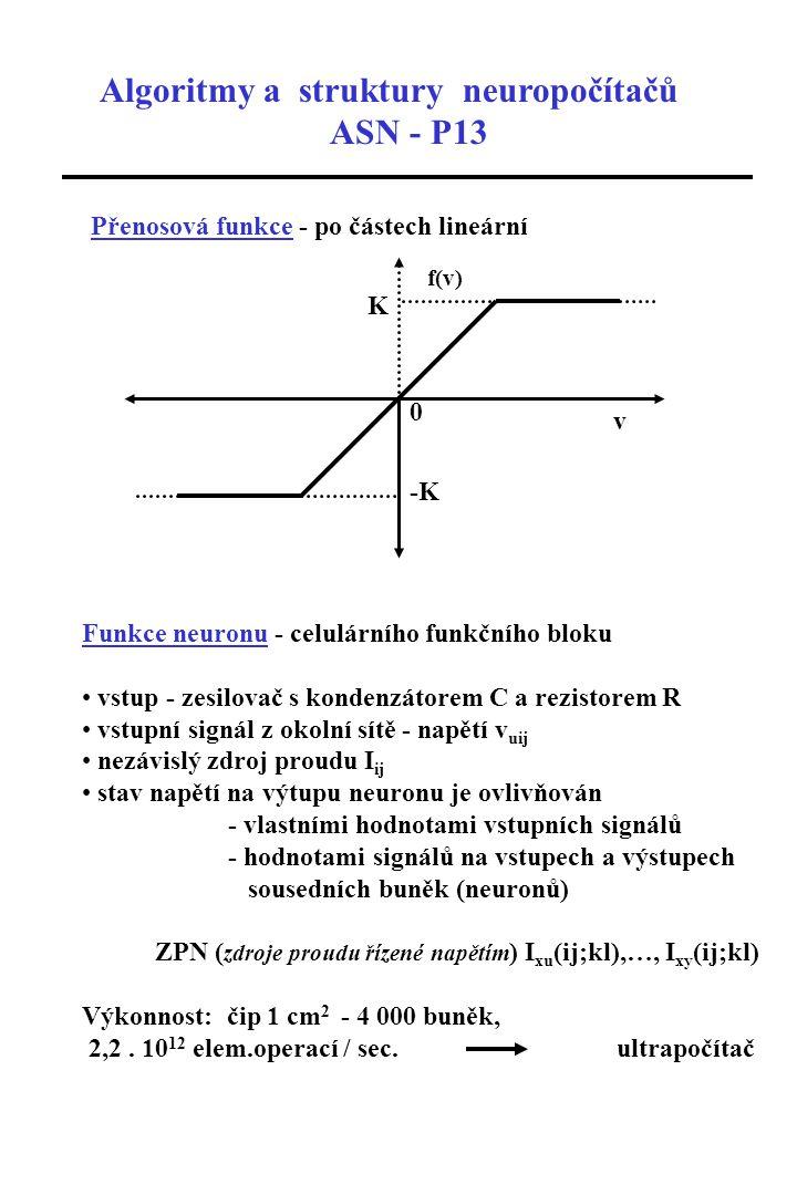 Algoritmy a struktury neuropočítačů ASN - P13 Přenosová funkce - po částech lineární f(v) v 0 K -K Funkce neuronu - celulárního funkčního bloku vstup - zesilovač s kondenzátorem C a rezistorem R vstupní signál z okolní sítě - napětí v uij nezávislý zdroj proudu I ij stav napětí na výtupu neuronu je ovlivňován - vlastními hodnotami vstupních signálů - hodnotami signálů na vstupech a výstupech sousedních buněk (neuronů) ZPN ( zdroje proudu řízené napětím ) I xu (ij;kl),…, I xy (ij;kl) Výkonnost: čip 1 cm 2 - 4 000 buněk, 2,2.