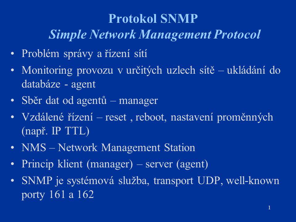 1 Protokol SNMP Simple Network Management Protocol Problém správy a řízení sítí Monitoring provozu v určitých uzlech sítě – ukládání do databáze - age