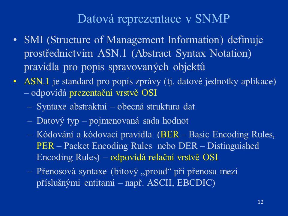 12 Datová reprezentace v SNMP SMI (Structure of Management Information) definuje prostřednictvím ASN.1 (Abstract Syntax Notation) pravidla pro popis s