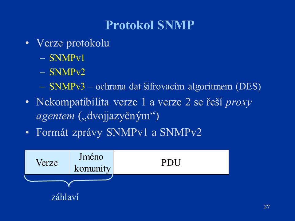 27 Protokol SNMP Verze protokolu –SNMPv1 –SNMPv2 –SNMPv3 – ochrana dat šifrovacím algoritmem (DES) Nekompatibilita verze 1 a verze 2 se řeší proxy age