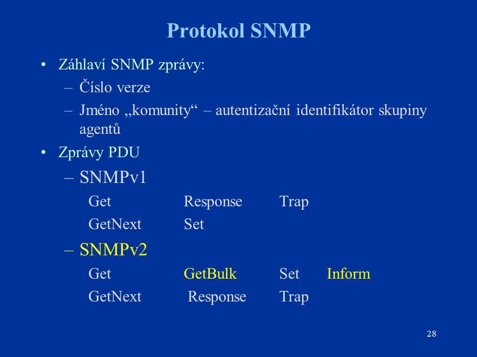"""28 Protokol SNMP Záhlaví SNMP zprávy: –Číslo verze –Jméno """"komunity"""" – autentizační identifikátor skupiny agentů Zprávy PDU –SNMPv1 GetResponseTrap Ge"""