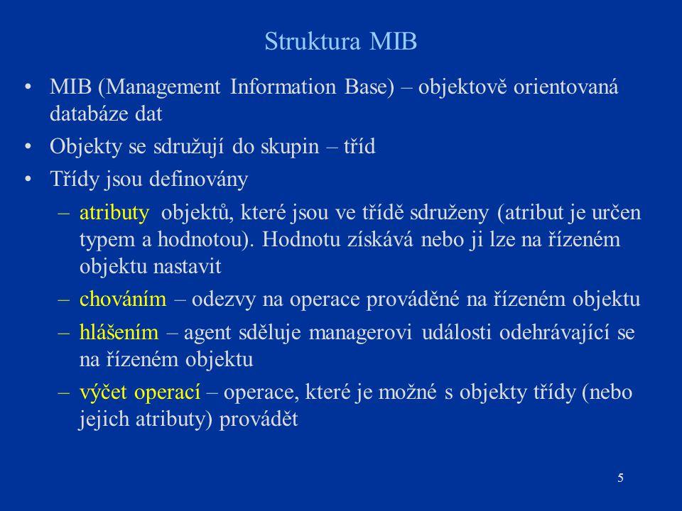 5 Struktura MIB MIB (Management Information Base) – objektově orientovaná databáze dat Objekty se sdružují do skupin – tříd Třídy jsou definovány –atr