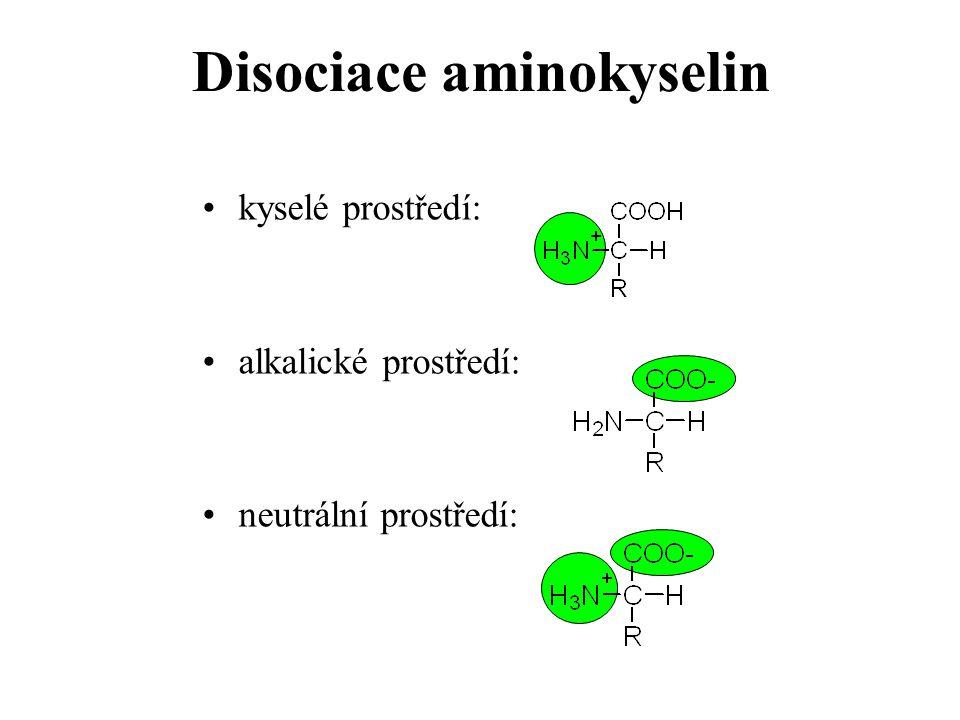 kyselé prostředí: alkalické prostředí: neutrální prostředí: Disociace aminokyselin