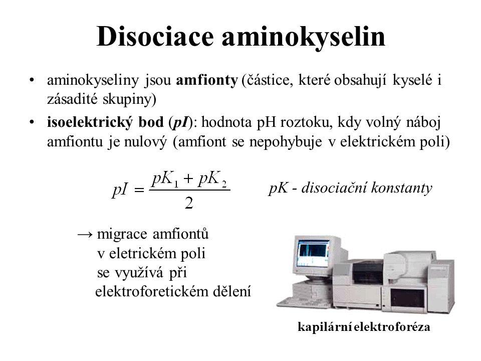 aminokyseliny jsou amfionty (částice, které obsahují kyselé i zásadité skupiny) isoelektrický bod (pI): hodnota pH roztoku, kdy volný náboj amfiontu j