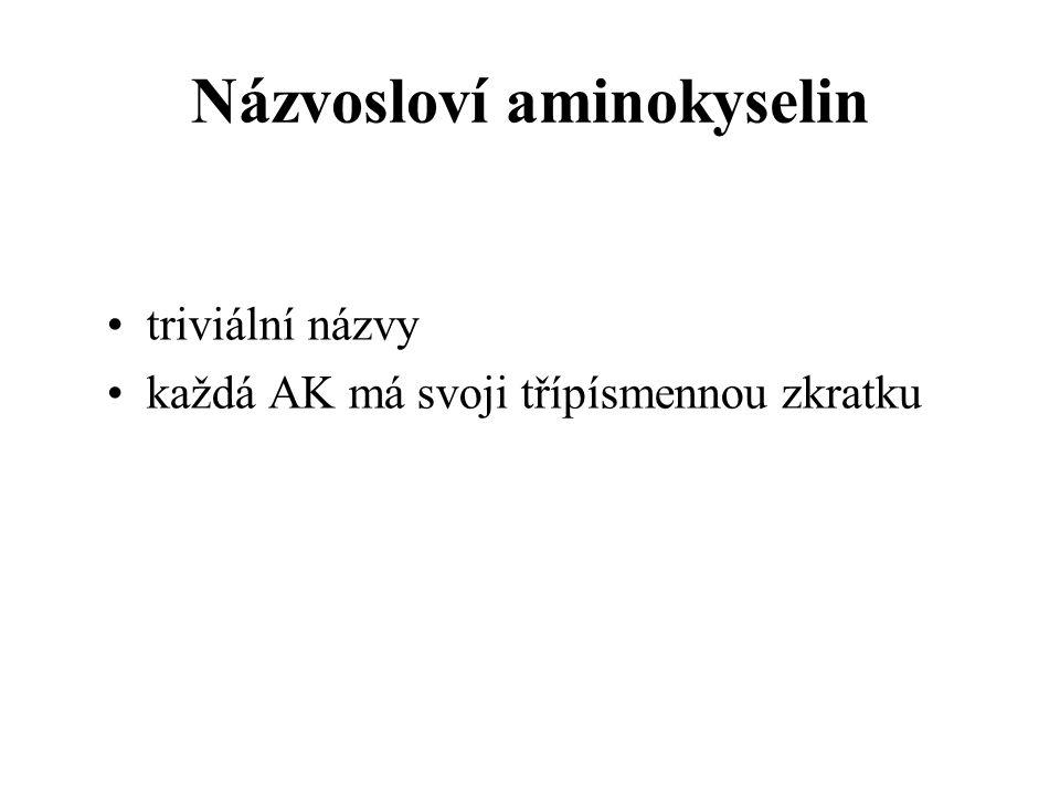 Názvosloví aminokyselin triviální názvy každá AK má svoji třípísmennou zkratku