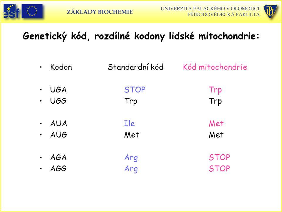 Genetický kód, rozdílné kodony lidské mitochondrie: Kodon Standardní kód Kód mitochondrie UGASTOPTrp UGGTrpTrp AUAIleMet AUGMetMet AGAArgSTOP AGGArgST