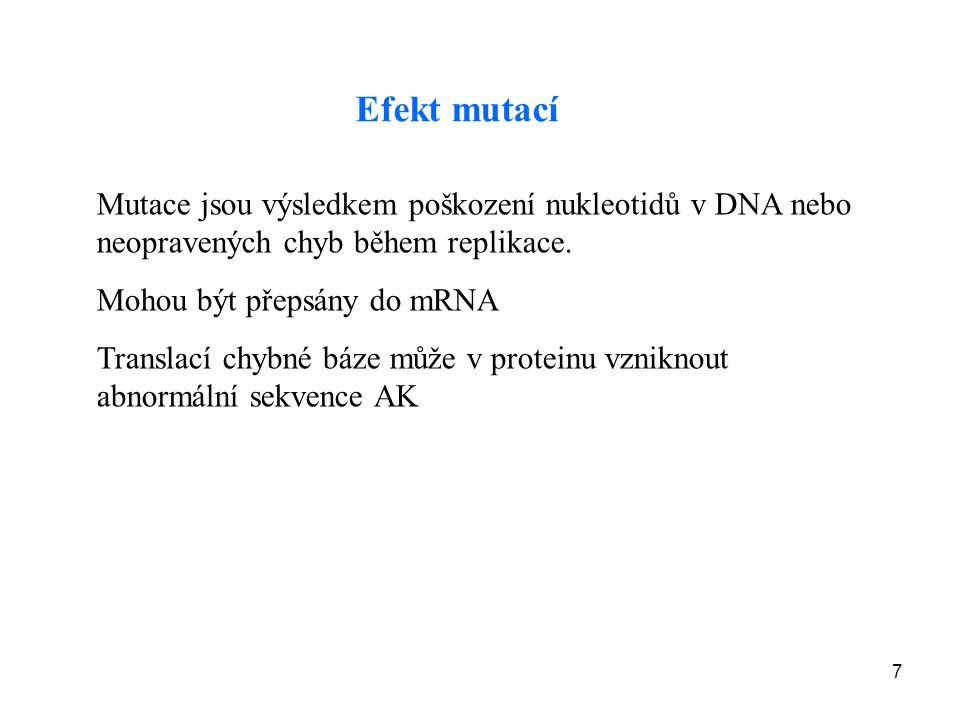 7 Efekt mutací Mutace jsou výsledkem poškození nukleotidů v DNA nebo neopravených chyb během replikace. Mohou být přepsány do mRNA Translací chybné bá