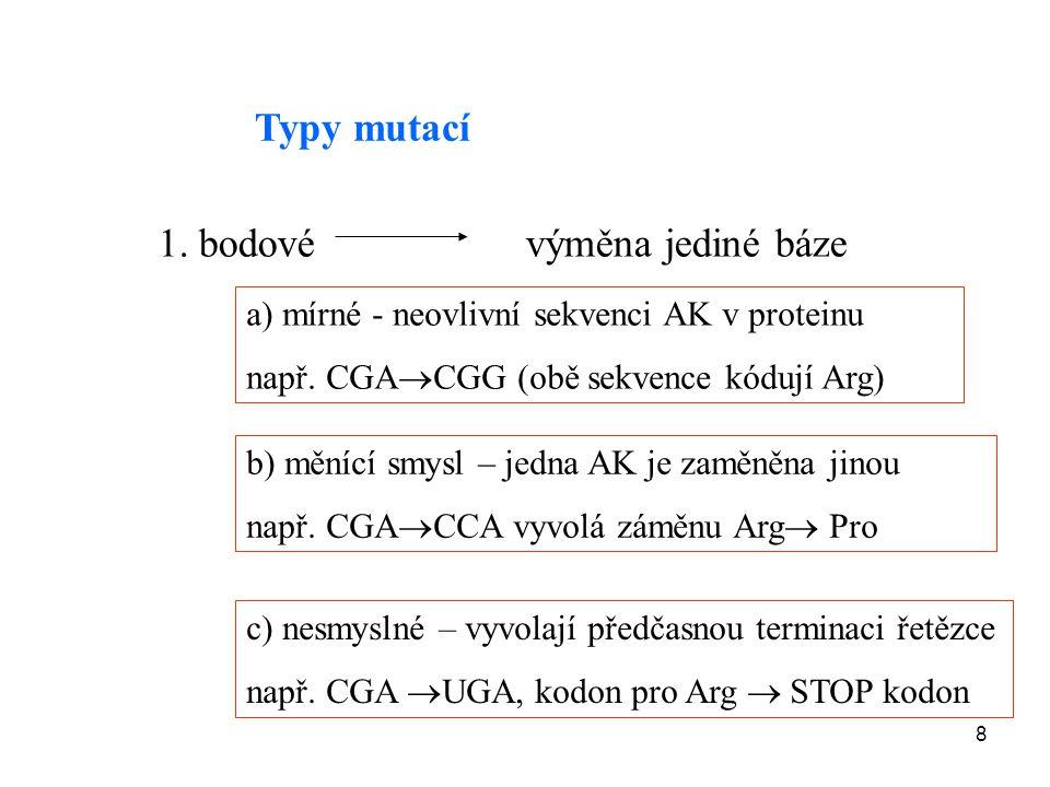 8 Typy mutací 1. bodové výměna jediné báze a) mírné - neovlivní sekvenci AK v proteinu např. CGA  CGG (obě sekvence kódují Arg) b) měnící smysl – jed