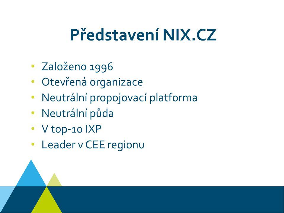 Představení NIX.CZ Založeno 1996 Otevřená organizace Neutrální propojovací platforma Neutrální půda V top-10 IXP Leader v CEE regionu