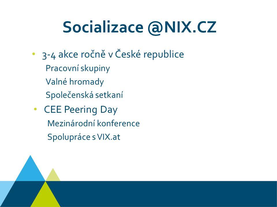 Socializace @NIX.CZ 3-4 akce ročně v České republice Pracovní skupiny Valné hromady Společenská setkaní CEE Peering Day Mezinárodní konference Spolupráce s VIX.at