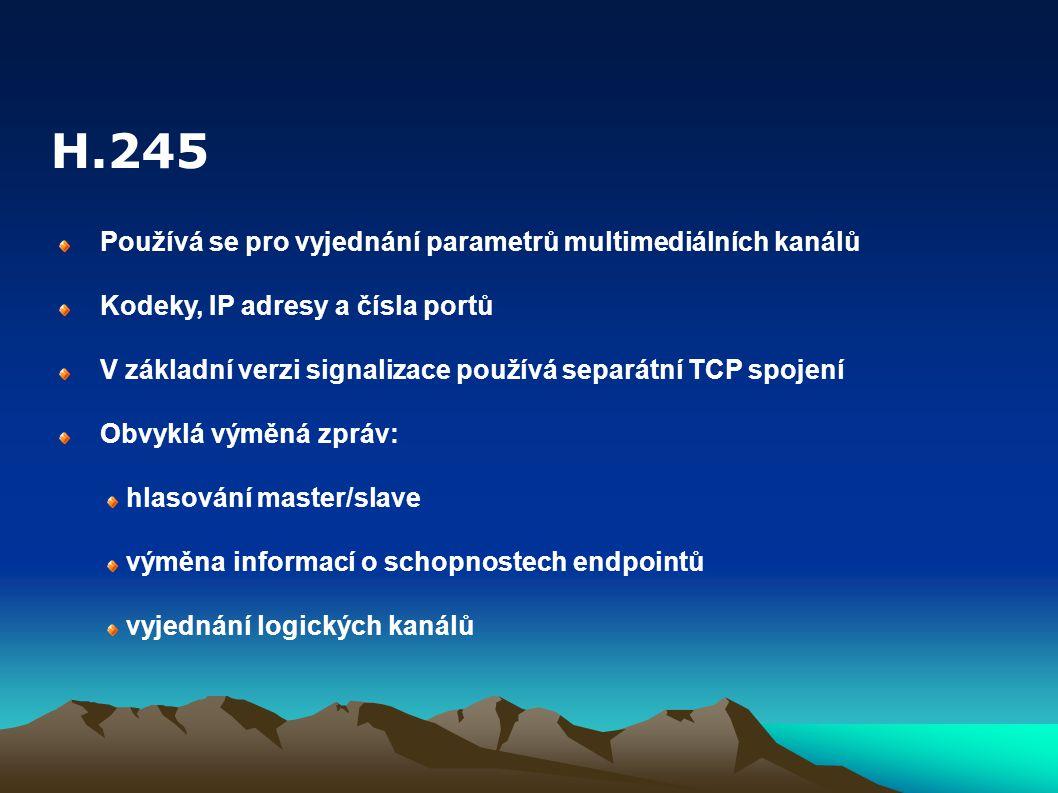 Používá se pro vyjednání parametrů multimediálních kanálů Kodeky, IP adresy a čísla portů V základní verzi signalizace používá separátní TCP spojení Obvyklá výměná zpráv: hlasování master/slave výměna informací o schopnostech endpointů vyjednání logických kanálů H.245