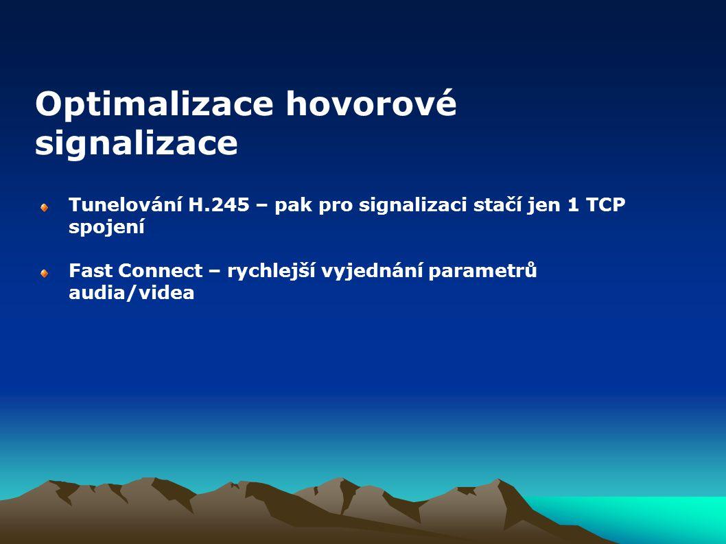 Tunelování H.245 – pak pro signalizaci stačí jen 1 TCP spojení Fast Connect – rychlejší vyjednání parametrů audia/videa Optimalizace hovorové signaliz