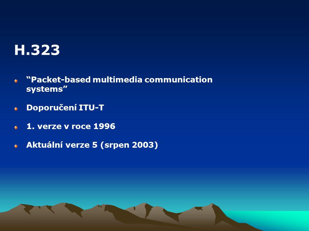 """""""Packet-based multimedia communication systems"""" Doporučení ITU-T 1. verze v roce 1996 Aktuální verze 5 (srpen 2003) H.323"""