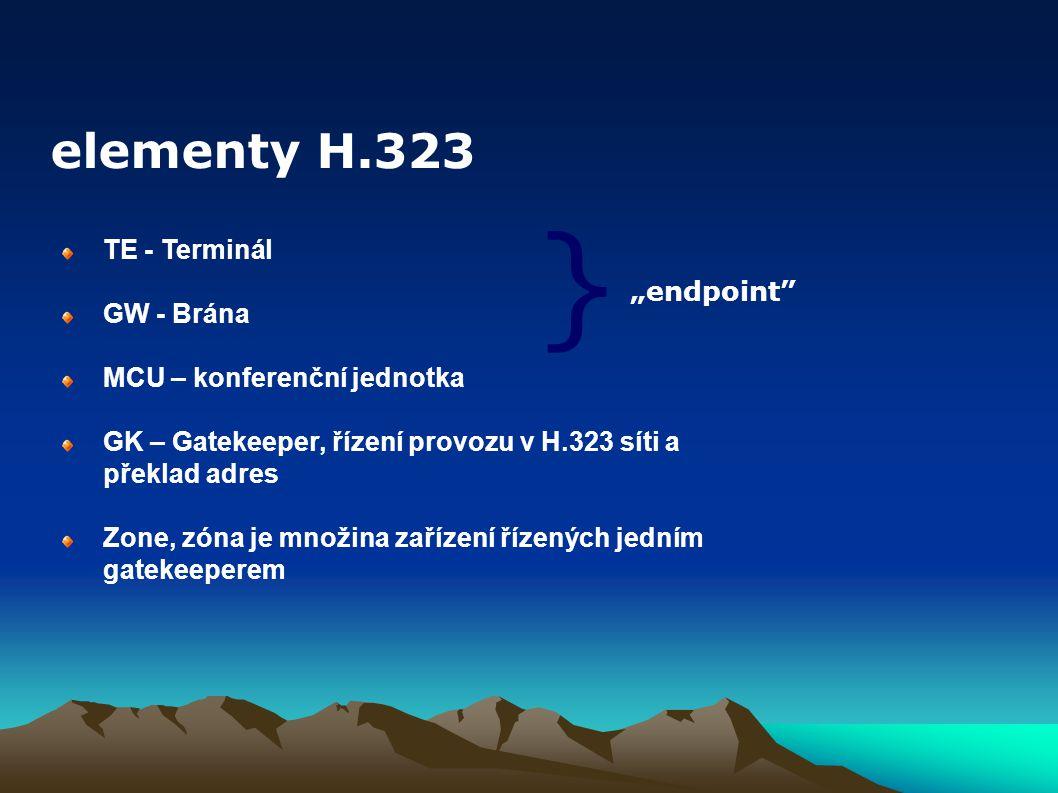 H.225.0,RAS – hovorová signalizace Q.931 – hovorová signalizace H.245 – vyjednání parametrů audia/videa H.235 – bezpečnostní a ověřovací mechanismy RTP – Real Time Protocol H.450.x – doplňkové služby Základní protokoly zastřešené doporučením H.323