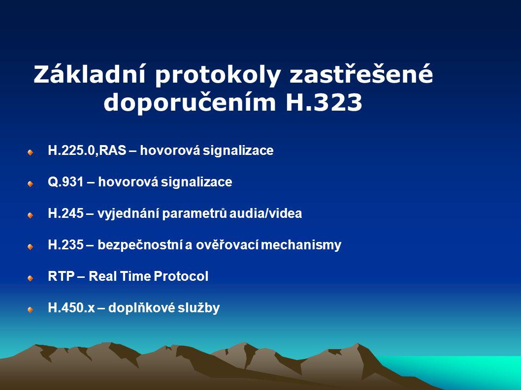 H.225.0,RAS – hovorová signalizace Q.931 – hovorová signalizace H.245 – vyjednání parametrů audia/videa H.235 – bezpečnostní a ověřovací mechanismy RT