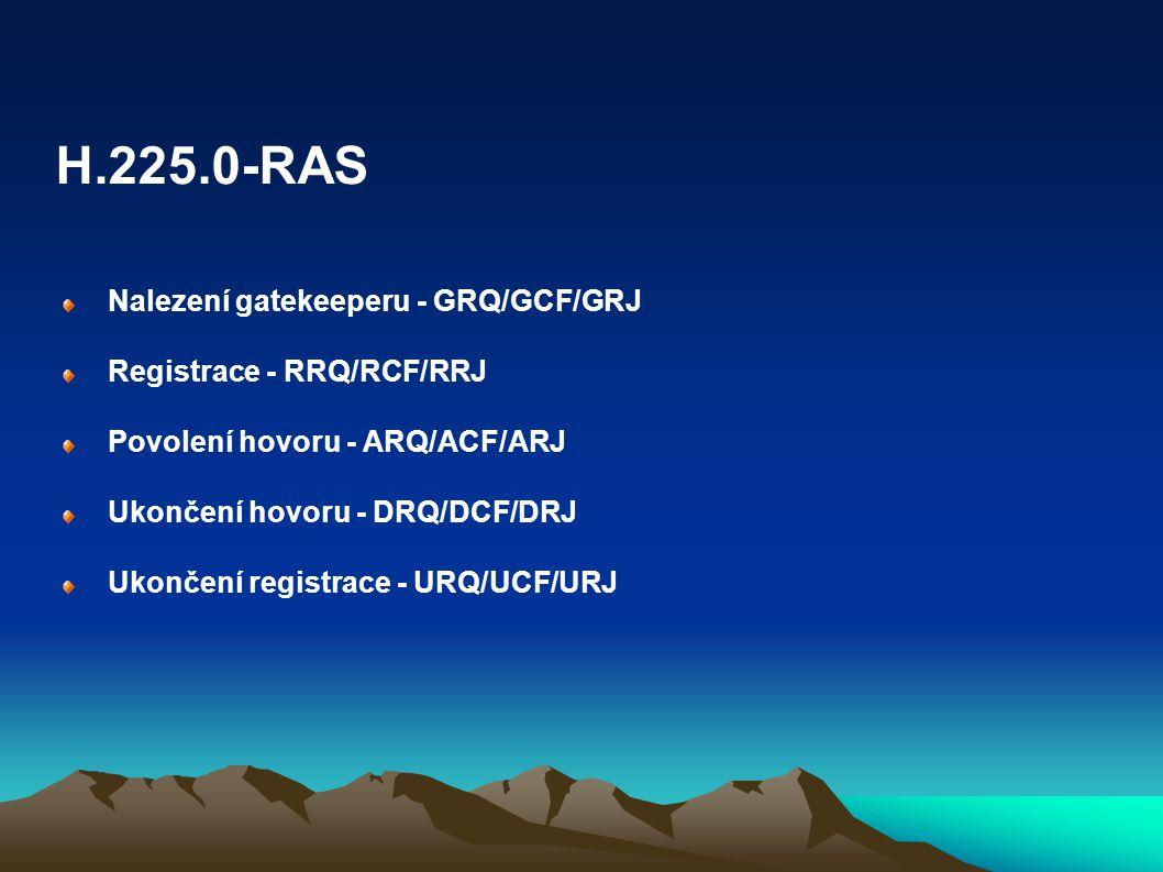 Nalezení gatekeeperu - GRQ/GCF/GRJ Registrace - RRQ/RCF/RRJ Povolení hovoru - ARQ/ACF/ARJ Ukončení hovoru - DRQ/DCF/DRJ Ukončení registrace - URQ/UCF/
