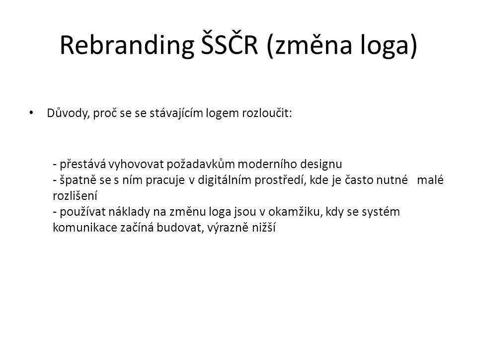 Rebranding ŠSČR (změna loga) Důvody, proč se se stávajícím logem rozloučit: - přestává vyhovovat požadavkům moderního designu - špatně se s ním pracuje v digitálním prostředí, kde je často nutné malé rozlišení - používat náklady na změnu loga jsou v okamžiku, kdy se systém komunikace začíná budovat, výrazně nižší