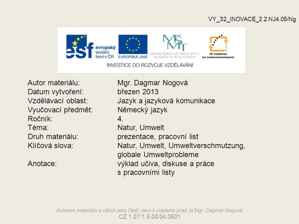 Autor materiálu:Mgr. Dagmar Nogová Datum vytvoření:březen 2013 Vzdělávací oblast:Jazyk a jazyková komunikace Vyučovací předmět: Německý jazyk Ročník:4