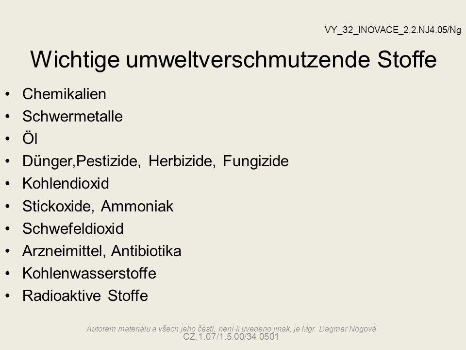 Wichtige umweltverschmutzende Stoffe Autorem materiálu a všech jeho částí, není-li uvedeno jinak, je Mgr. Dagmar Nogová CZ.1.07/1.5.00/34.0501 Chemika