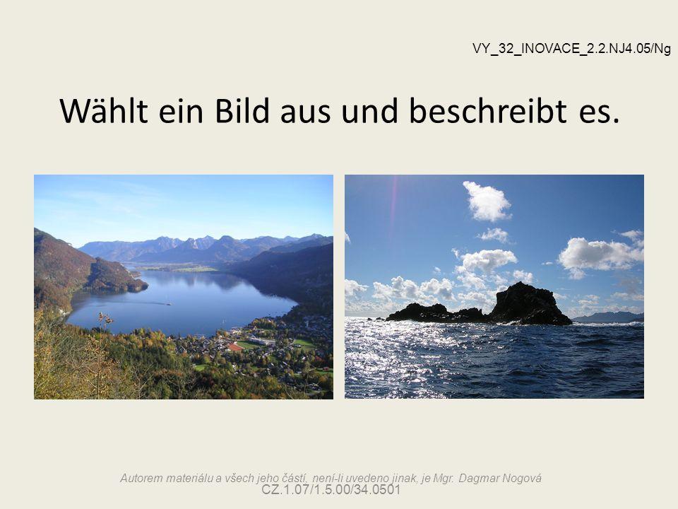 Wählt ein Bild aus und beschreibt es. Autorem materiálu a všech jeho částí, není-li uvedeno jinak, je Mgr. Dagmar Nogová CZ.1.07/1.5.00/34.0501 VY_32_