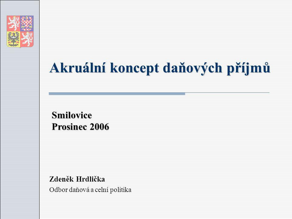 Akruální koncept daňových příjmů Zdeněk Hrdlička Odbor daňová a celní politika Smilovice Prosinec 2006