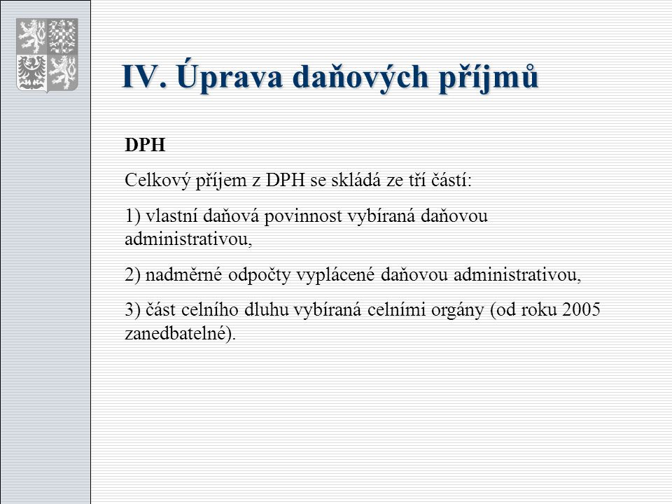 IV. Úprava daňových příjmů DPH Celkový příjem z DPH se skládá ze tří částí: 1) vlastní daňová povinnost vybíraná daňovou administrativou, 2) nadměrné