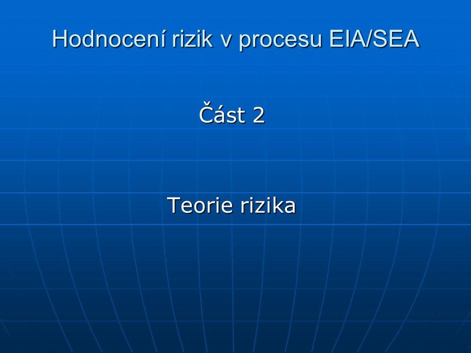 Hodnocení rizik v procesu EIA/SEA Část 2 Teorie rizika