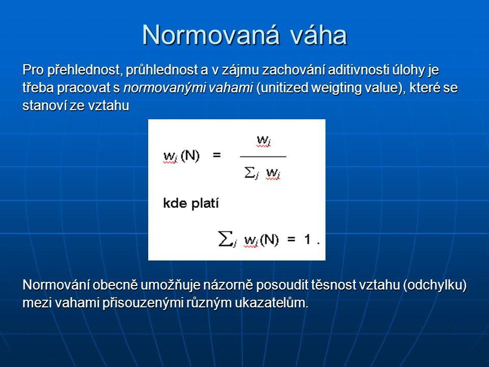 Normovaná váha Pro přehlednost, průhlednost a v zájmu zachování aditivnosti úlohy je třeba pracovat s normovanými vahami (unitized weigting value), kt