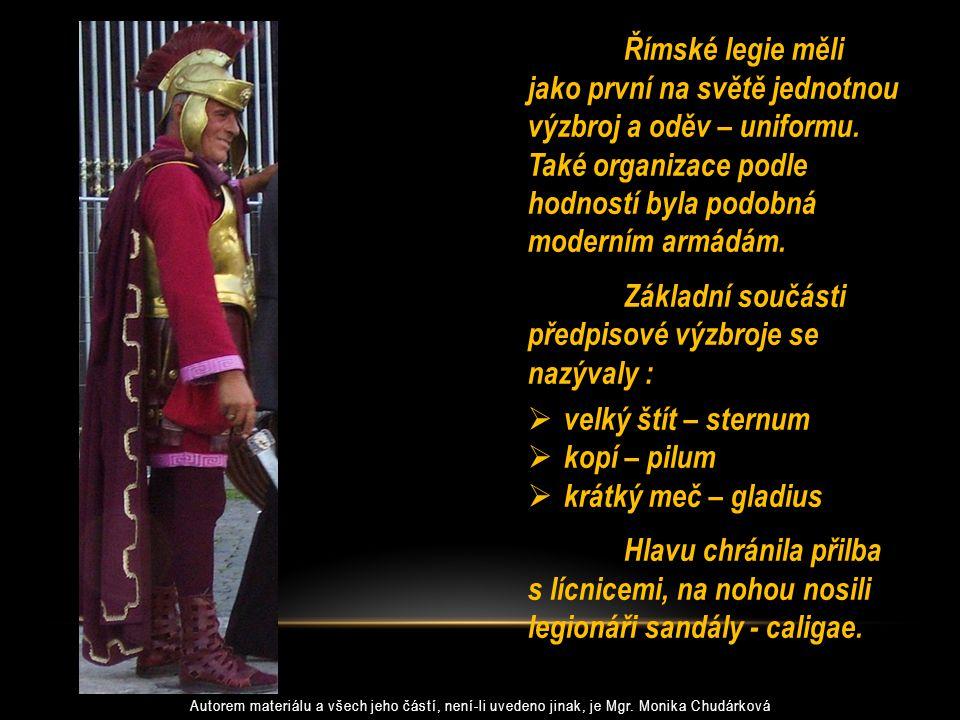 Římské legie měli jako první na světě jednotnou výzbroj a oděv – uniformu. Také organizace podle hodností byla podobná moderním armádám. Základní souč