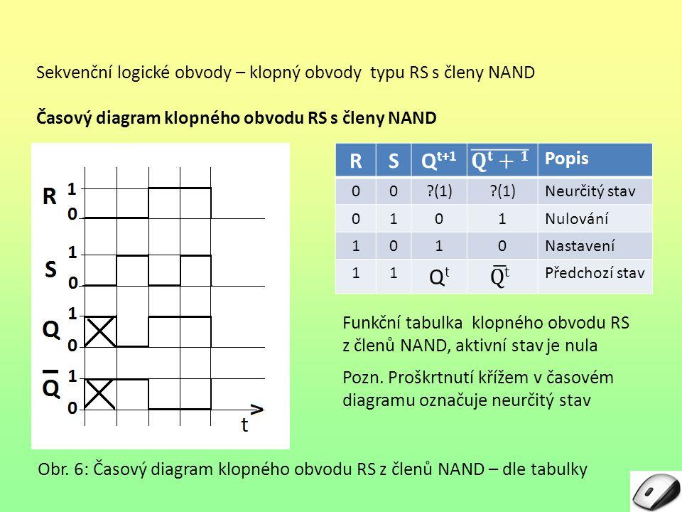 Sekvenční logické obvody – klopný obvody typu RS s členy NAND Časový diagram klopného obvodu RS s členy NAND Obr. 6: Časový diagram klopného obvodu RS