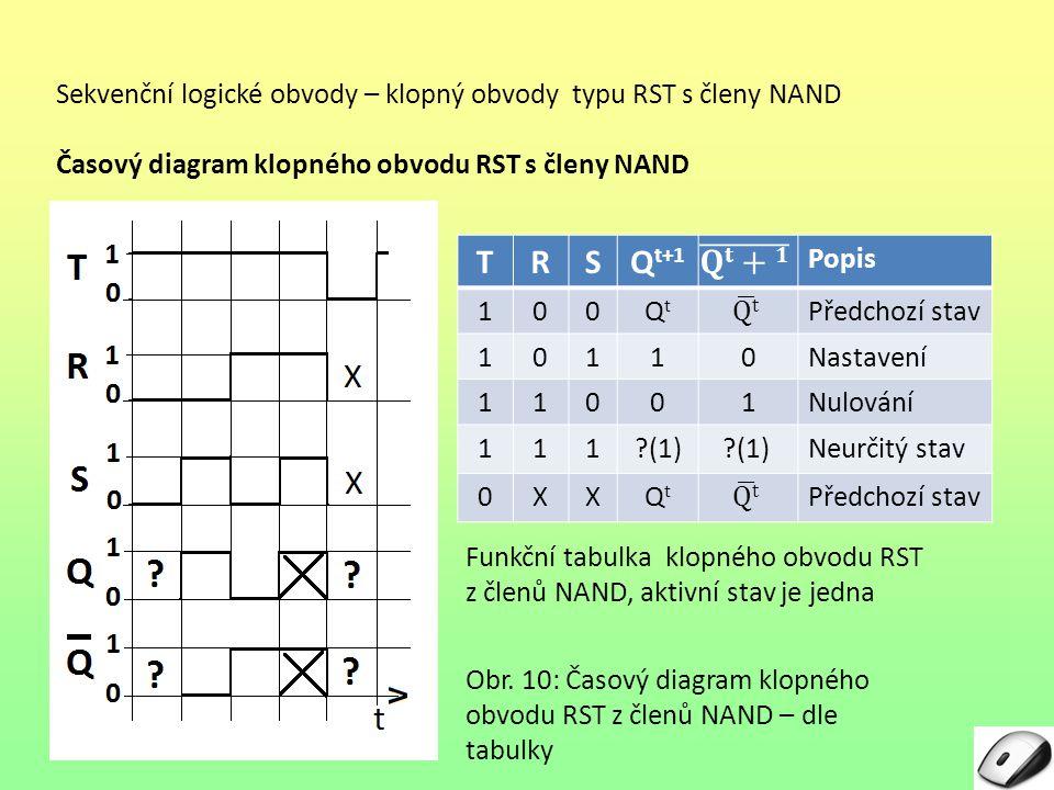 Sekvenční logické obvody – klopný obvody typu RST s členy NAND Časový diagram klopného obvodu RST s členy NAND Obr.