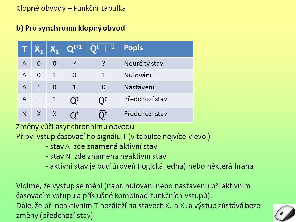 Klopné obvody – Funkční tabulka b) Pro synchronní klopný obvod Změny vůči asynchronnímu obvodu Přibyl vstup časovací ho signálu T (v tabulce nejvíce vlevo ) - stav A zde znamená aktivní stav - N zde znamená neaktivní stav - aktivní stav je buď úroveň (logická jedna) nebo některá hrana Vidíme, že výstup se mění (např.