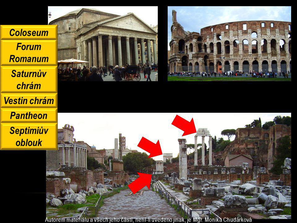 Forum Romanum Saturnův chrám Vestin chrám Pantheon Septimiův oblouk Coloseum Autorem materiálu a všech jeho částí, není-li uvedeno jinak, je Mgr. Moni