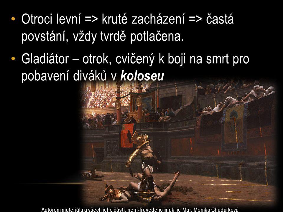 Gladiátor – otrok, cvičený k boji na smrt pro pobavení diváků v koloseu Otroci levní => kruté zacházení => častá povstání, vždy tvrdě potlačena.