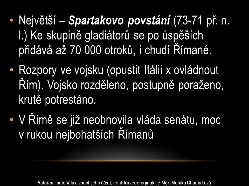 Největší – Spartakovo povstání (73-71 př.n.