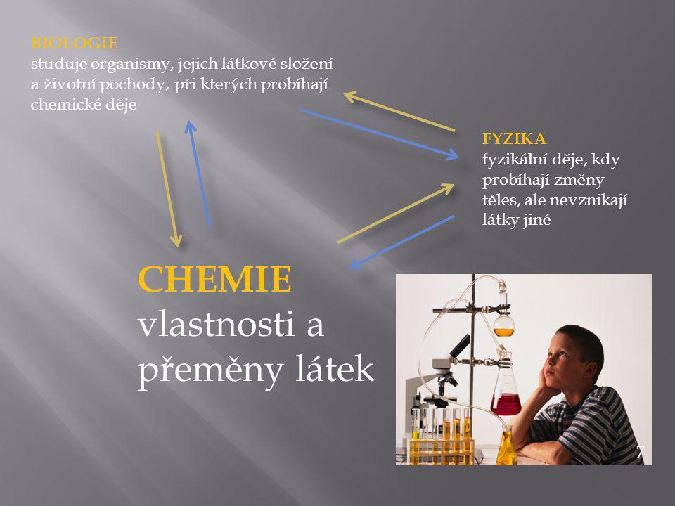 CHEMIE vlastnosti a přeměny látek FYZIKA fyzikální děje, kdy probíhají změny těles, ale nevznikají látky jiné BIOLOGIE studuje organismy, jejich látkové složení a životní pochody, při kterých probíhají chemické děje 7