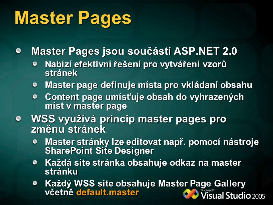 Master Pages Master Pages jsou součástí ASP.NET 2.0 Nabízí efektivní řešení pro vytváření vzorů stránek Master page definuje místa pro vkládaní obsahu