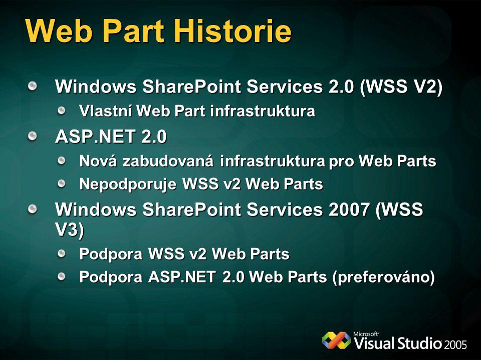 Web Part Historie Windows SharePoint Services 2.0 (WSS V2) Vlastní Web Part infrastruktura ASP.NET 2.0 Nová zabudovaná infrastruktura pro Web Parts Ne