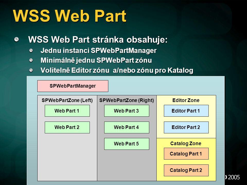 WSS Web Part WSS Web Part stránka obsahuje: Jednu instanci SPWebPartManager Minimálně jednu SPWebPart zónu Volitelně Editor zónu a/nebo zónu pro Katal