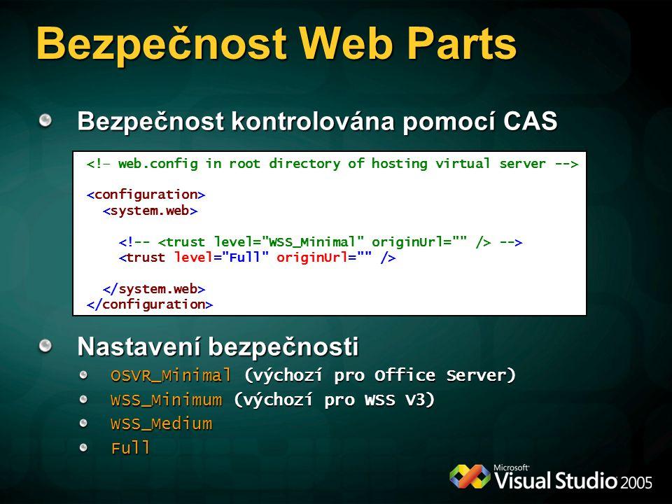 Bezpečnost Web Parts Bezpečnost kontrolována pomocí CAS Nastavení bezpečnosti OSVR_Minimal (výchozí pro Office Server) WSS_Minimum (výchozí pro WSS V3