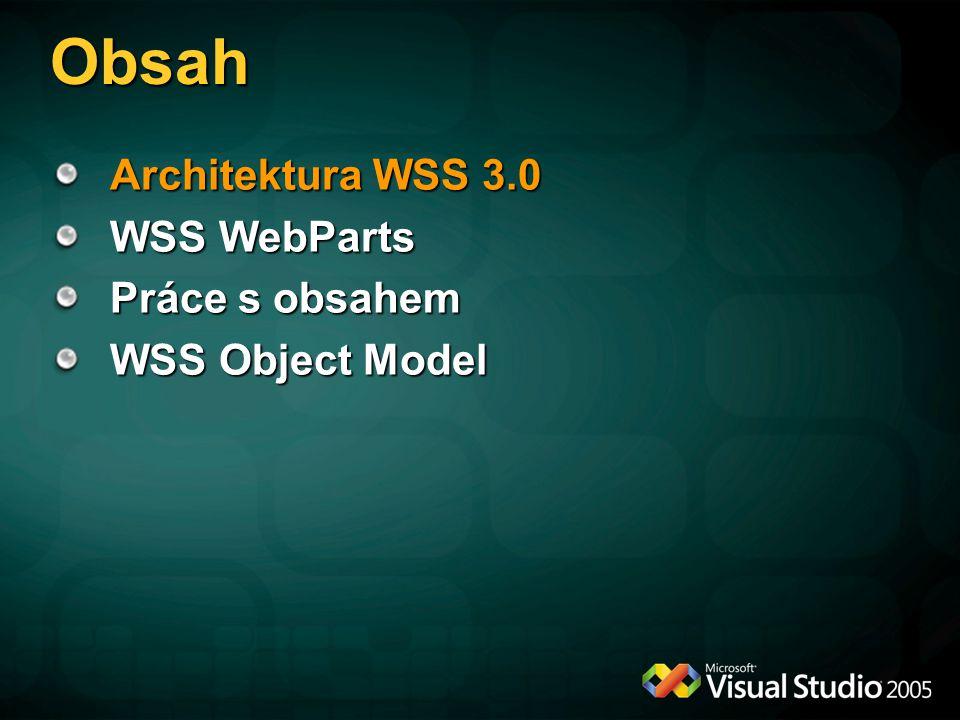 Novinky ve WSS 3.0 Integrace s ASP.NET 2.0 (Master pages, Webparts) Recycle Bin Integrace s WWF Podpora RSS Feedu Item-level security Content types Synchronní události Features framework