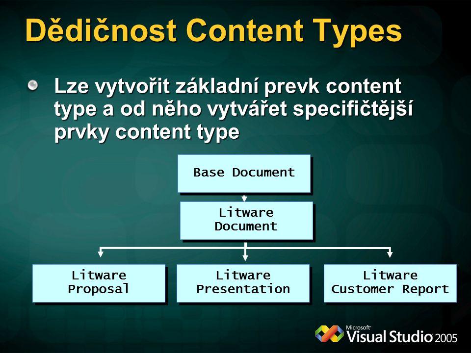 Dědičnost Content Types Lze vytvořit základní prevk content type a od něho vytvářet specifičtější prvky content type Base Document Litware Document Li