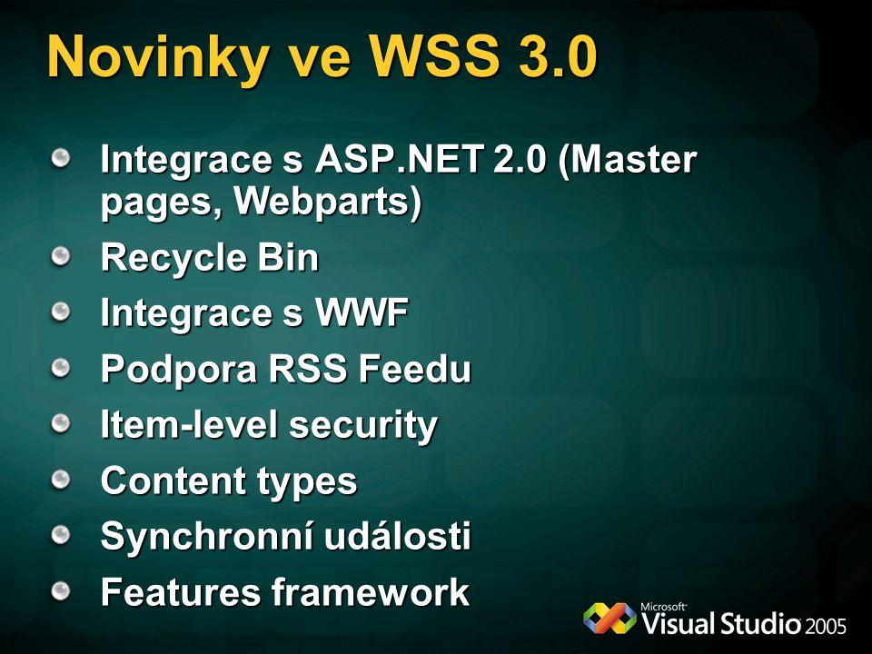 Novinky ve WSS 3.0 Integrace s ASP.NET 2.0 (Master pages, Webparts) Recycle Bin Integrace s WWF Podpora RSS Feedu Item-level security Content types Sy