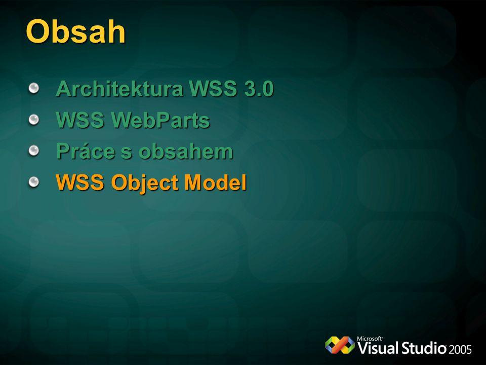 Obsah Architektura WSS 3.0 WSS WebParts Práce s obsahem WSS Object Model