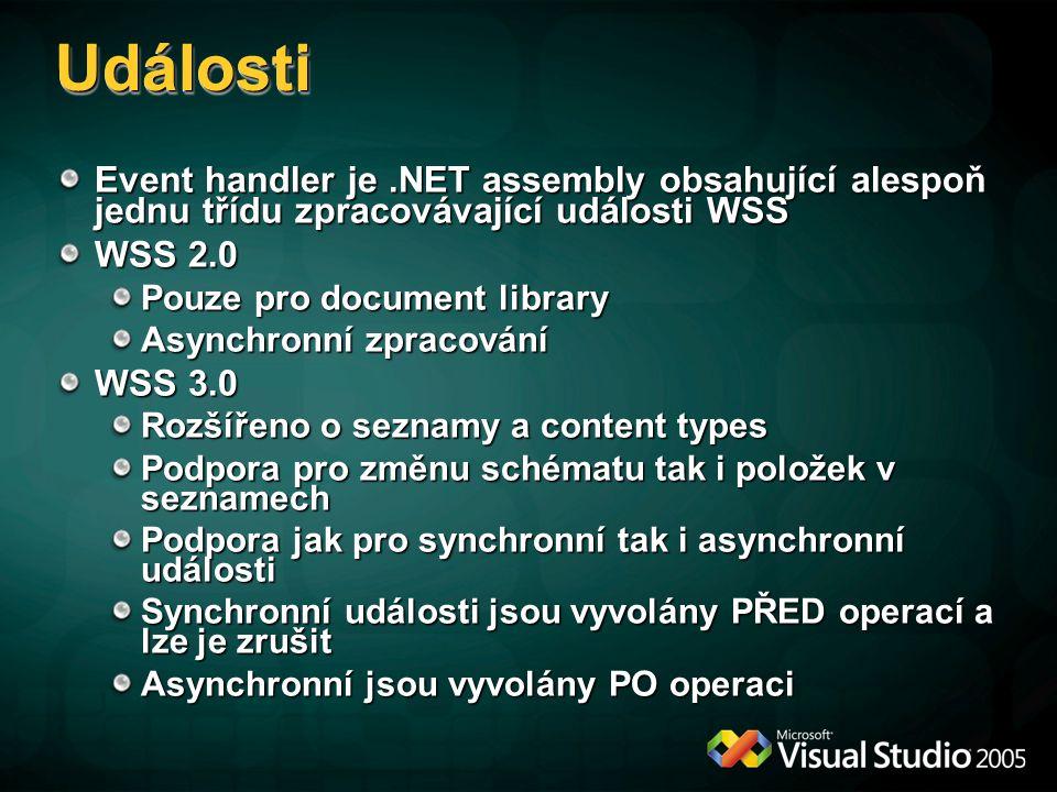 UdálostiUdálosti Event handler je.NET assembly obsahující alespoň jednu třídu zpracovávající události WSS WSS 2.0 Pouze pro document library Asynchron