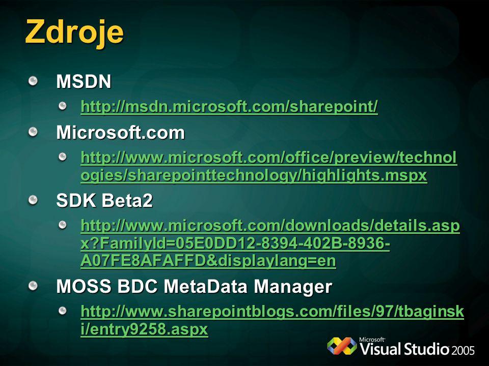Zdroje MSDN http://msdn.microsoft.com/sharepoint/ Microsoft.com http://www.microsoft.com/office/preview/technol ogies/sharepointtechnology/highlights.