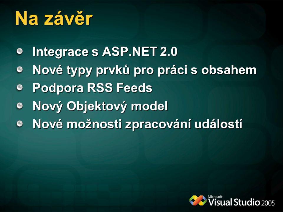 Na závěr Integrace s ASP.NET 2.0 Nové typy prvků pro práci s obsahem Podpora RSS Feeds Nový Objektový model Nové možnosti zpracování událostí