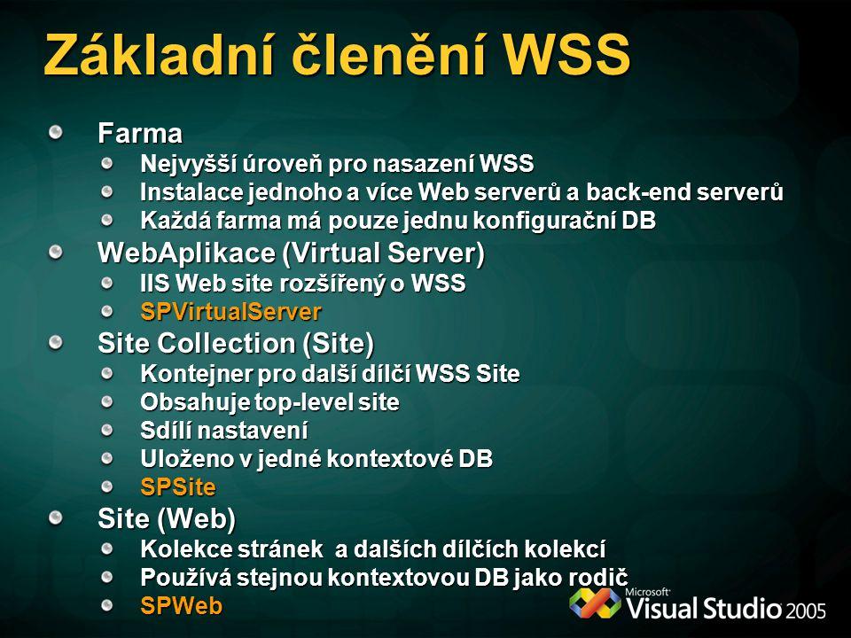 UdálostiUdálosti Event handler je.NET assembly obsahující alespoň jednu třídu zpracovávající události WSS WSS 2.0 Pouze pro document library Asynchronní zpracování WSS 3.0 Rozšířeno o seznamy a content types Podpora pro změnu schématu tak i položek v seznamech Podpora jak pro synchronní tak i asynchronní události Synchronní události jsou vyvolány PŘED operací a lze je zrušit Asynchronní jsou vyvolány PO operaci